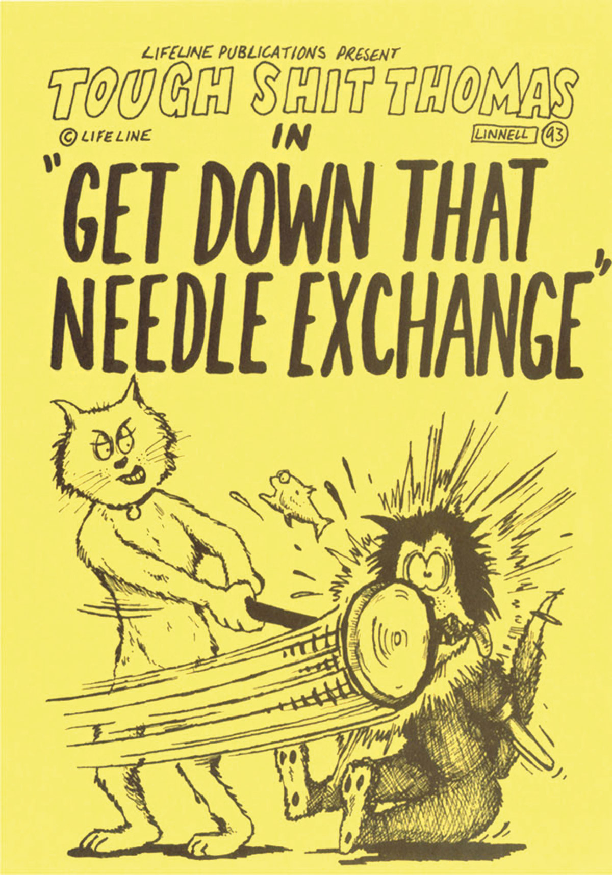 Lifeline, Get Down That Needle Exchange, 1993: Leaflet. Illustration by Michael Linnell © Lifeline.  Image used courtesy of Michael Linnell, who also has an online archive of his drug-related work; http://michaellinnell.org.uk/archive.html