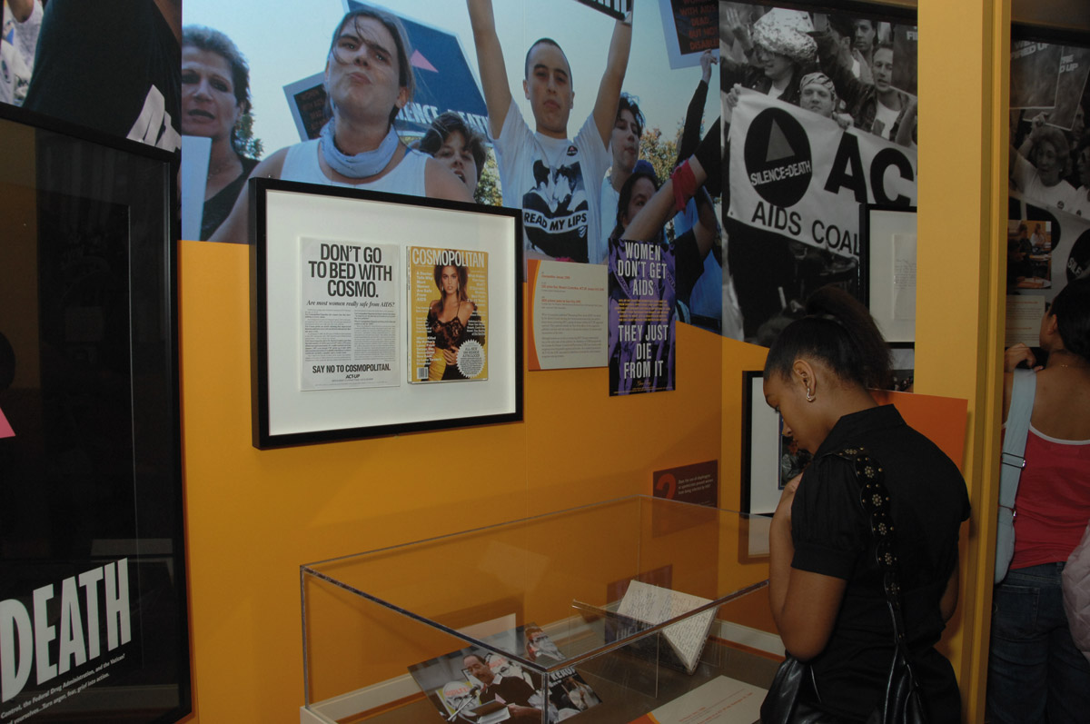 Women's activism on display in the exhibition, including the efforts of the ACT UP Women's Committee  to expand the definition of AIDS in 1990-1991.Courtesy of the National Library of Medicine.