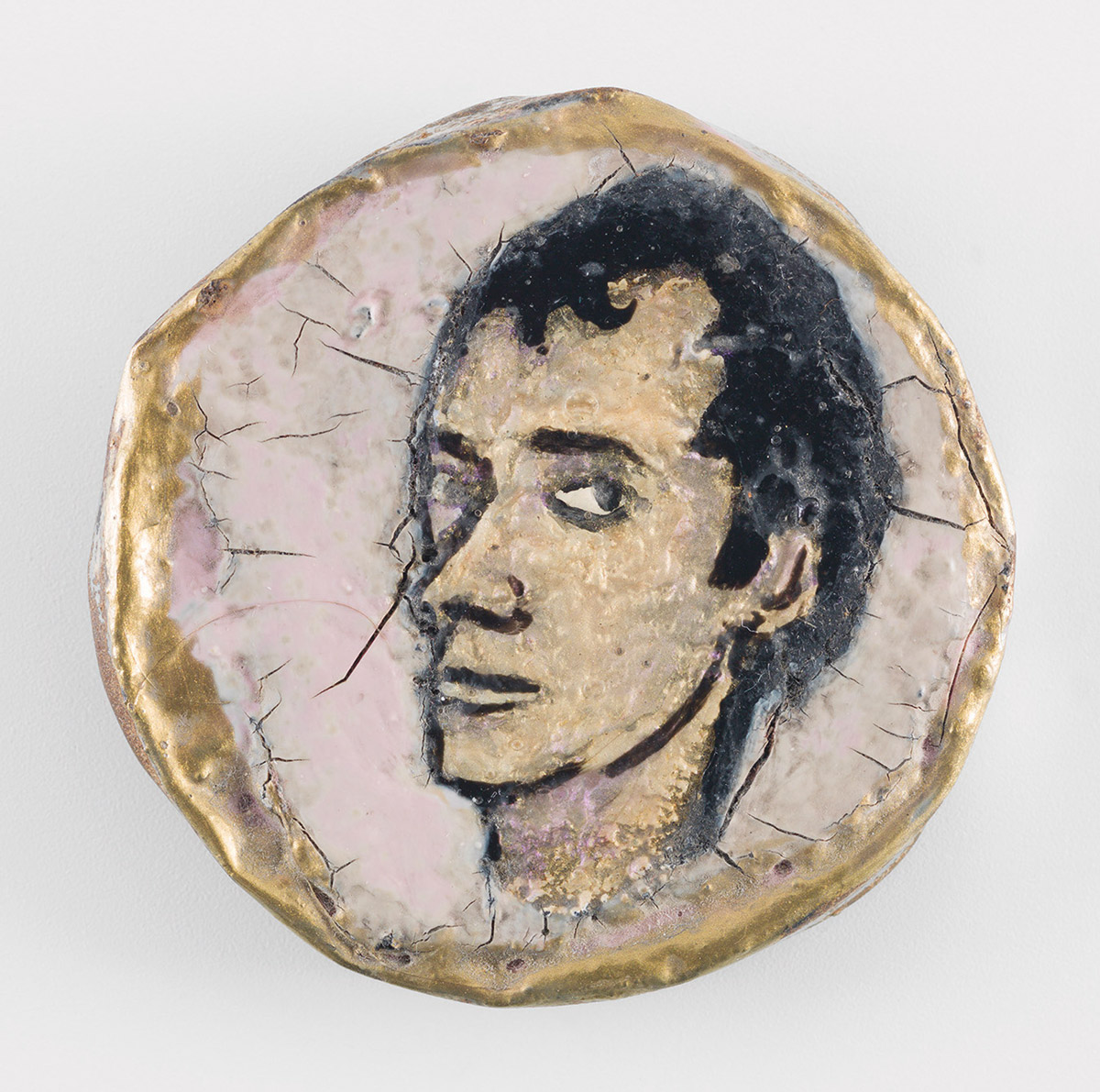 Jerome Caja, Untitled (Portrait of Charles Sexton), 1992. Nail polish and Charles Sexton's ashes on bottle cap, approximately 2 inches diameter. Collection Amy Scholder. Photo credit: Christopher Burke Studios