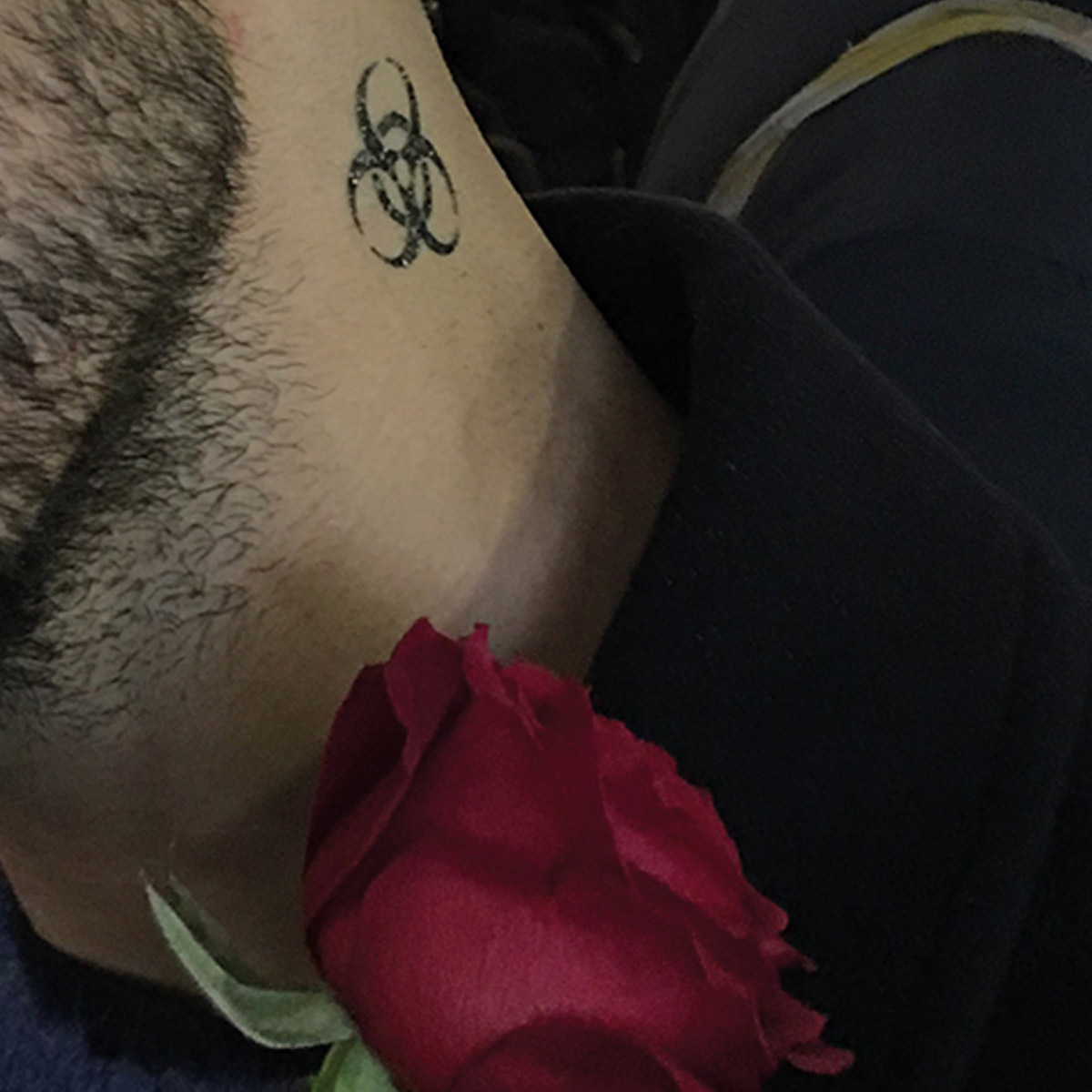 Can Küçük, Temporary tattoo, 2018, (The artist applied his tattoo work on his neck ). Courtesy of the artist.