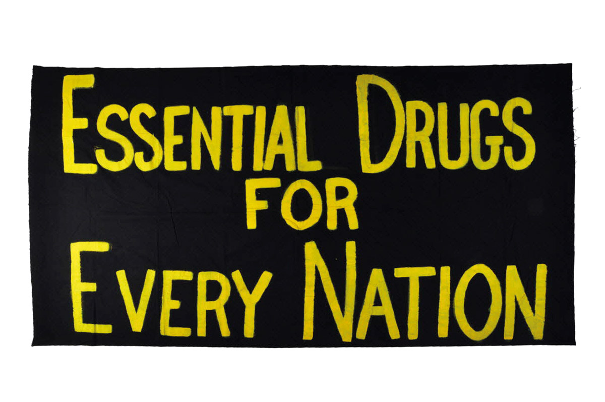 "Multiple AIDS associations: Banner ""Essential Drugs for every nation,"" deployed in July 1999  at the International AIDS Conference in Durban, South Africa. Courtesy of Mucem (Inv : 2004.211.33)."
