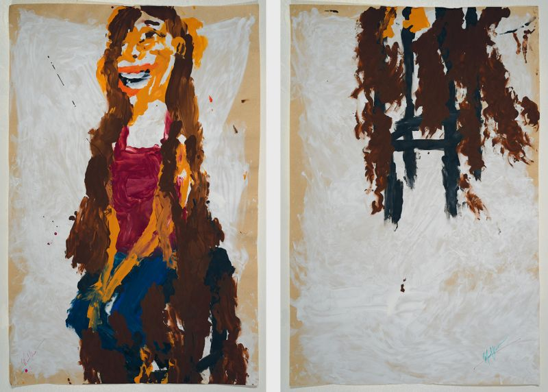 Manuel Solano, Alanis (diptych), from the series Blind Transgender With AIDS, 2014,  Acrylic on paper 56.5 x 86.5 cm each. Courtesy of the Artist