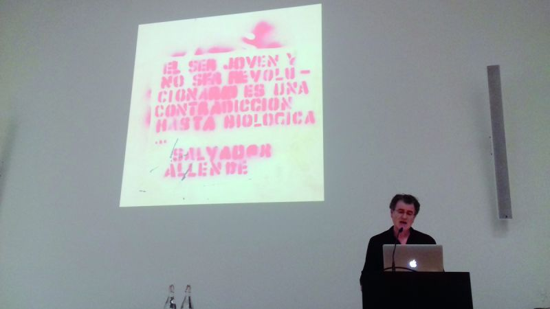Alfredo Jaar at the conference, ZHdK, 2018