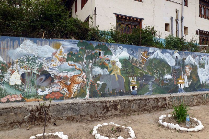Mural on the campus of Choki Traditional Art School, Thimphu. 2013. Photograph: © FOA-FLUX